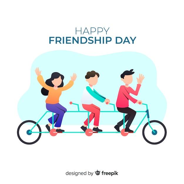 Fond de journée amitié design plat Vecteur gratuit