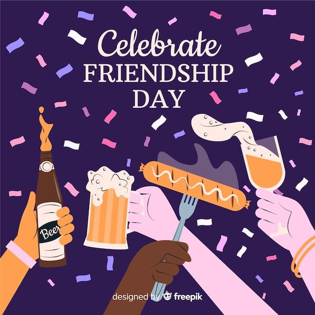 Fond de journée de l'amitié dessiné à la main Vecteur gratuit