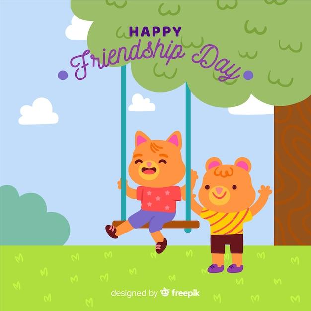 Fond de journée d'amitié dessiné à la main Vecteur gratuit