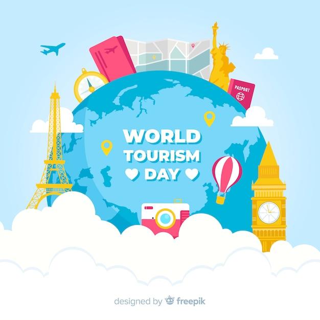 Fond de la journée du tourisme avec monde et monuments au design plat Vecteur gratuit