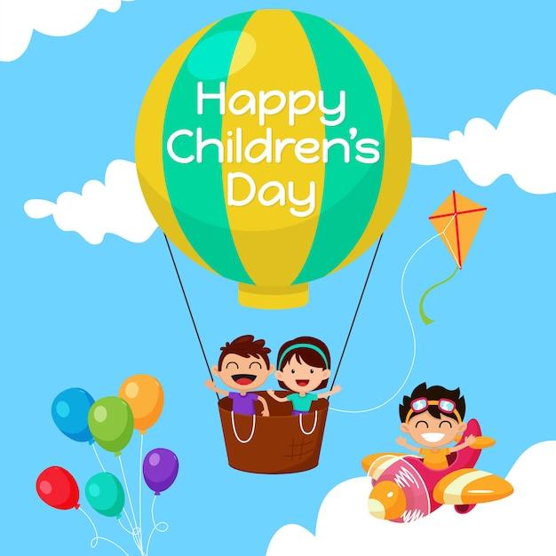 Fond de la journée des enfants heureux Vecteur Premium