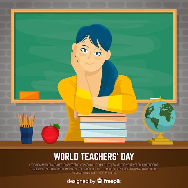 Fond de journée de l'enseignant avec l'enseignante et tableau noir en design plat Vecteur gratuit