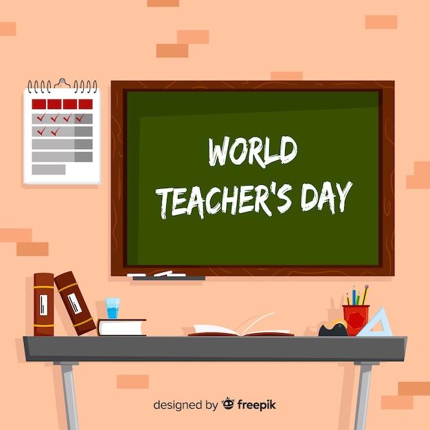 Fond de la journée des enseignants du monde moderne Vecteur gratuit