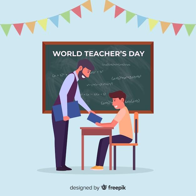 Fond de la journée des enseignants du monde plat Vecteur gratuit