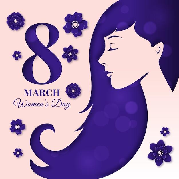 Fond De La Journée De La Femme Dans Le Style Du Papier Vecteur gratuit