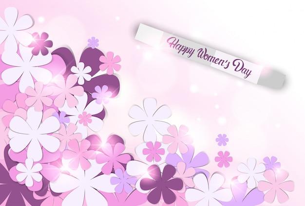 Fond De Journée Des Femmes Empilées Fleurs Et Lumières Vecteur Premium