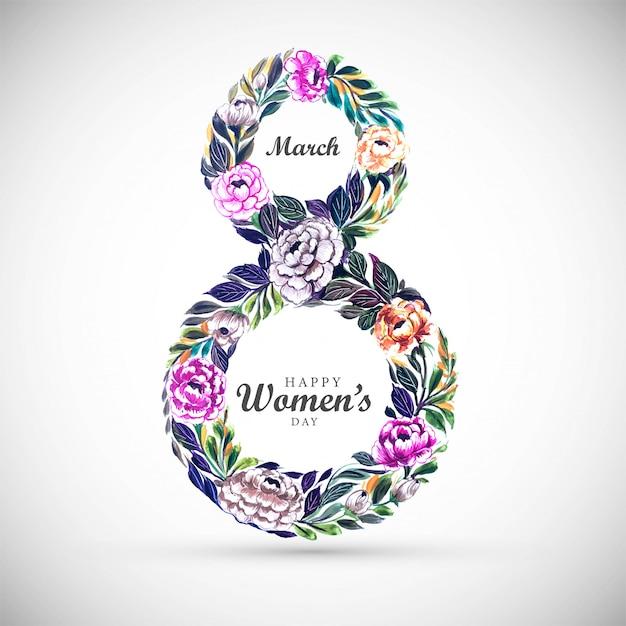 Fond De Journée Des Femmes Avec Des Fleurs De Cadre 8 Mars Vecteur gratuit