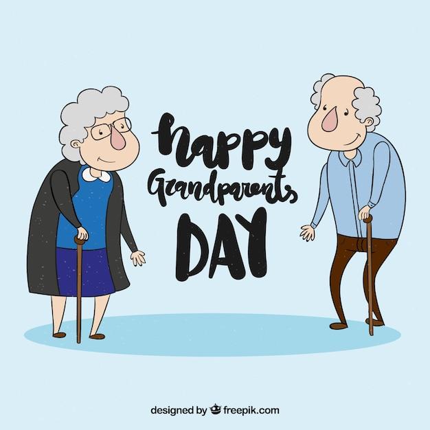 Fond de la journée des grands parents dessiné à la main Vecteur gratuit