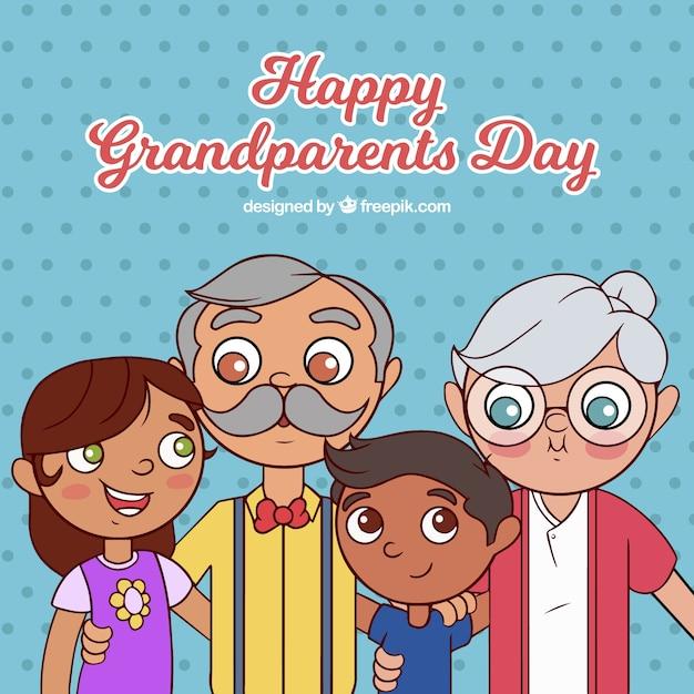 Fond De La Journée Des Grands Parents Heureux Vecteur gratuit