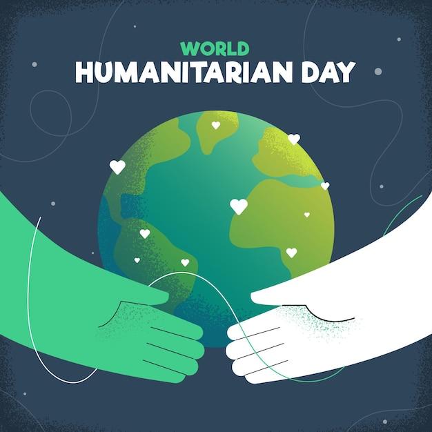 Fond De La Journée Humanitaire Mondiale Dessiné à La Main Vecteur gratuit