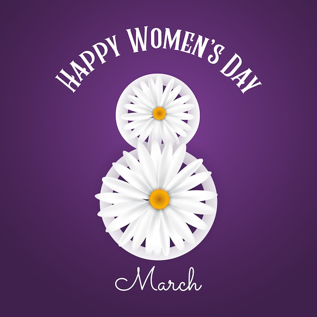 Fond de la journée internationale de la femme avec des marguerites Vecteur gratuit