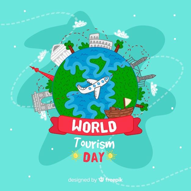 Fond de la journée mondiale du tourisme dessinés à la main Vecteur gratuit