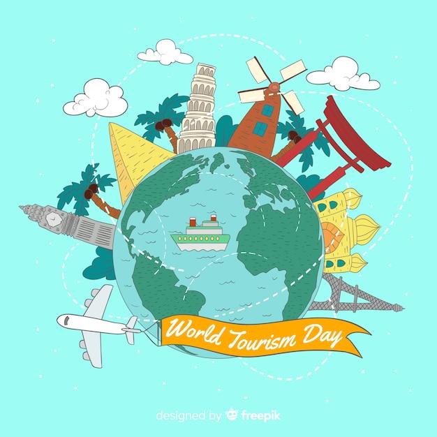 Fond de la journée mondiale du tourisme avec points de repère et transport Vecteur gratuit
