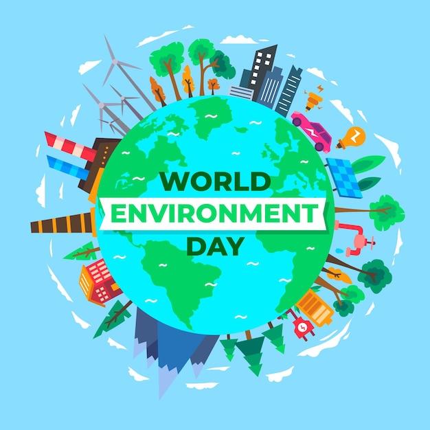 Fond De Journée Mondiale De L'environnement Design Plat Vecteur gratuit