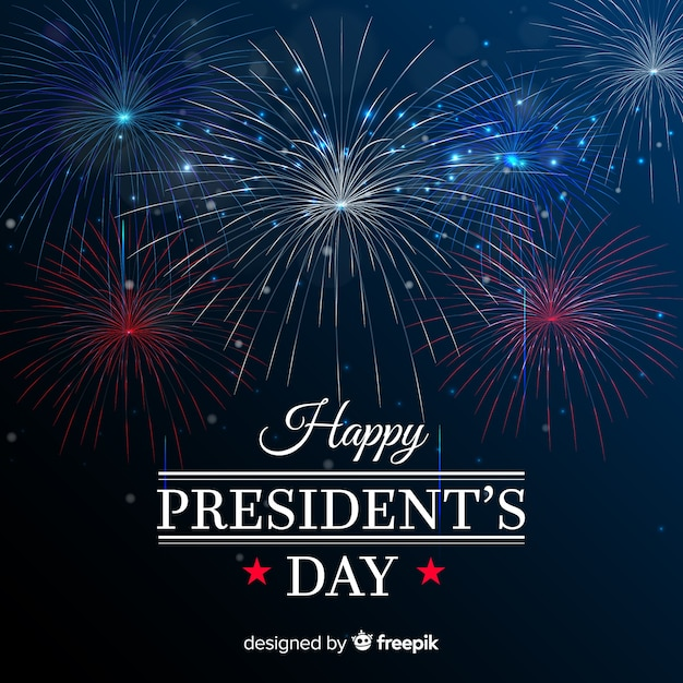 Fond de journée des présidents de feux d'artifice Vecteur gratuit