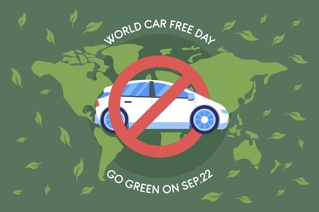 Fond De Journée Sans Voiture Design Plat Monde Vecteur gratuit