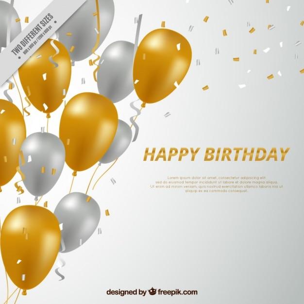 fond Joyeux anniversaire avec des ballons argentés et dorés Vecteur gratuit