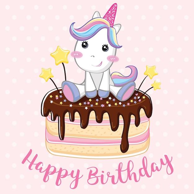 Fond de joyeux anniversaire licorne Vecteur Premium