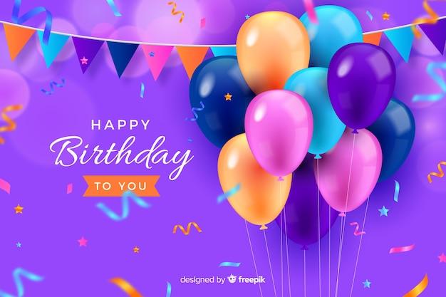 Fond de joyeux anniversaire style réaliste Vecteur gratuit