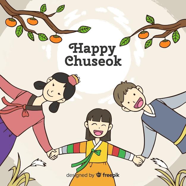 Fond De Joyeux Chuseok Coréen Vecteur gratuit