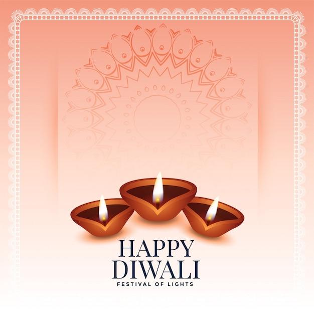 Fond de joyeux diwali traditionnel avec trois diya Vecteur gratuit