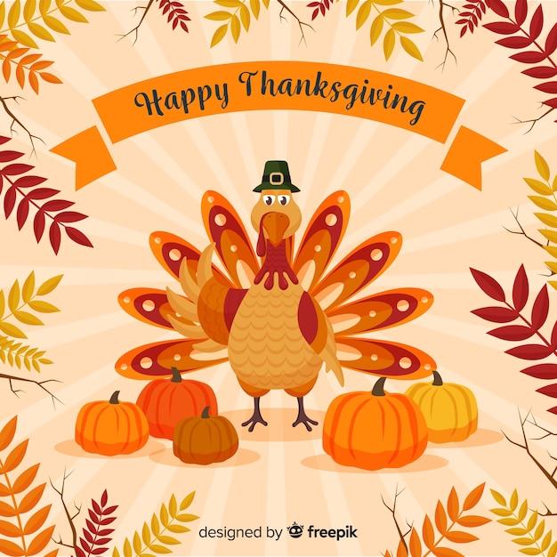 Fond de joyeux jour de thanksgiving turquie Vecteur gratuit