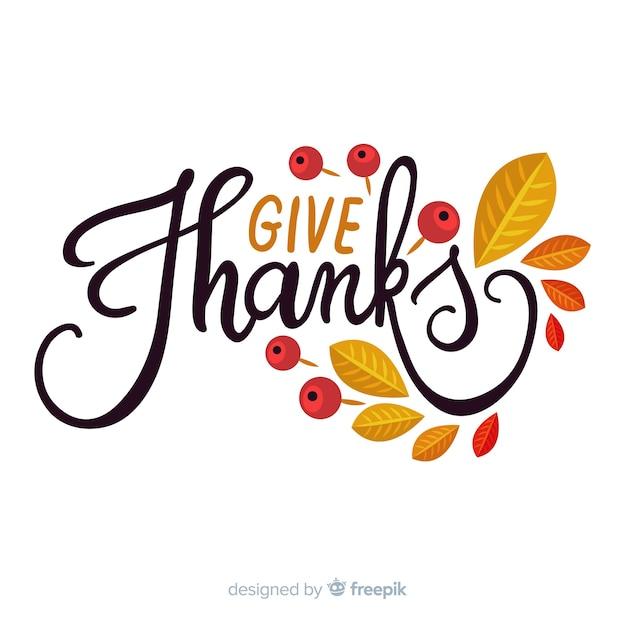 Fond de joyeux thanksgiving avec lettrage et feuilles Vecteur gratuit