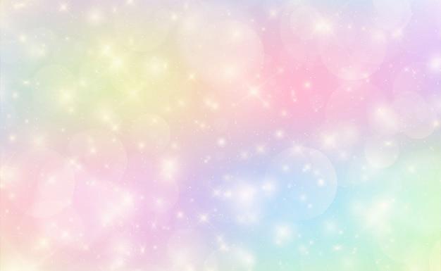 Fond kawaii avec dégradé de princesse arc-en-ciel. Vecteur Premium