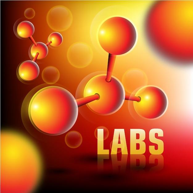 Fond De Laboratoires Avec Des Particules 3d Vecteur Premium