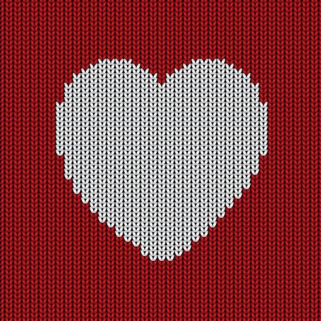 Fond de laine avec un coeur Vecteur gratuit