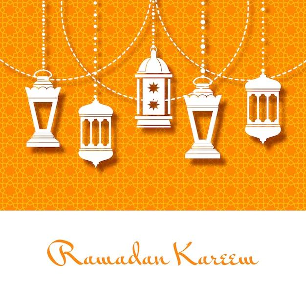Fond Avec Des Lanternes Arabes Pour Le Ramadan Kareem Vecteur gratuit