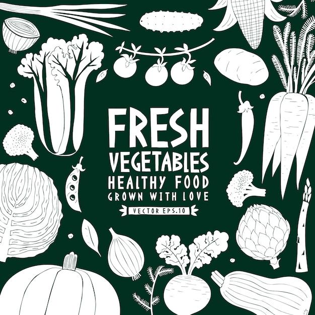 Fond de légumes. style de linogravure. la nourriture saine. illustration vectorielle Vecteur Premium