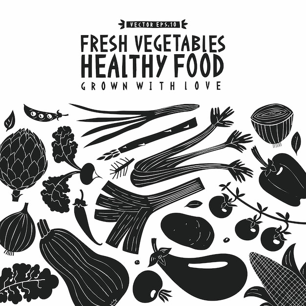 Fond de légumes. style de linogravure. la nourriture saine. Vecteur Premium