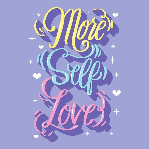 Fond De Lettrage D'amour-propre Avec Coeurs Vecteur gratuit