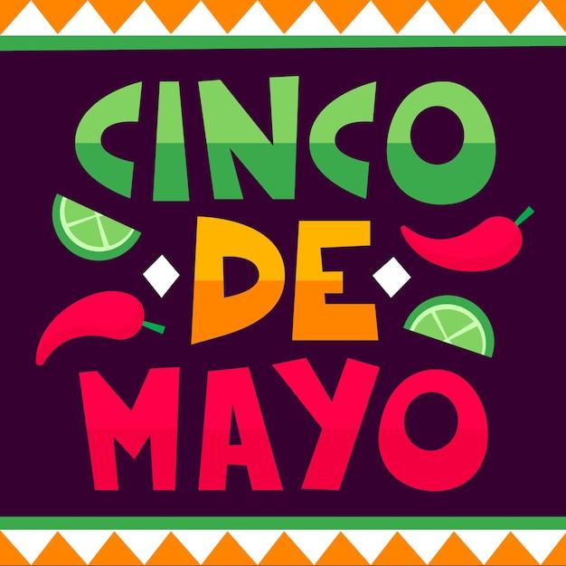 Fond De Lettrage Cinco De Mayo Vecteur gratuit
