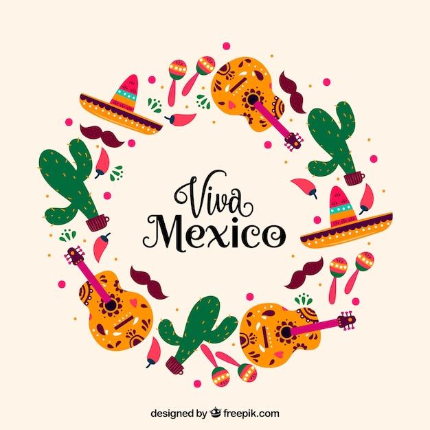 Fond de lettrage circulaire viva mexico Vecteur gratuit