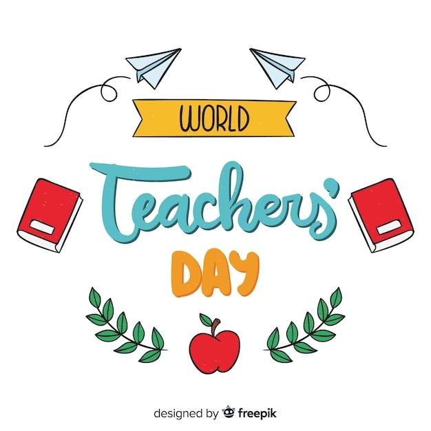 Fond de lettrage de la journée mondiale des enseignants Vecteur gratuit