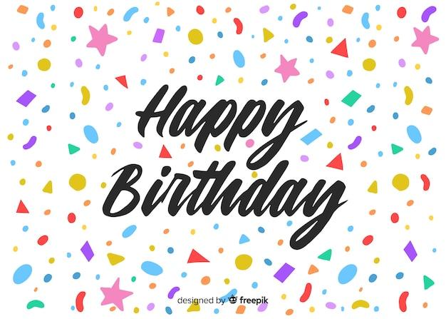 Fond de lettrage joyeux anniversaire créatif Vecteur gratuit