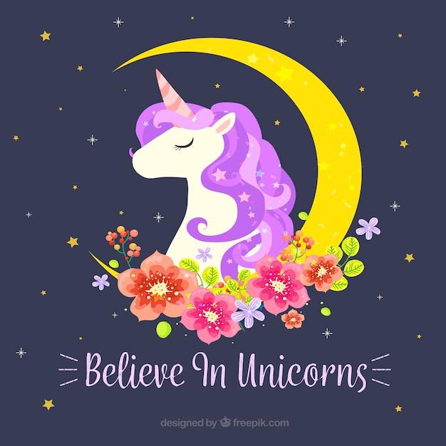 Fond de licorne avec lune et décoration florale Vecteur gratuit