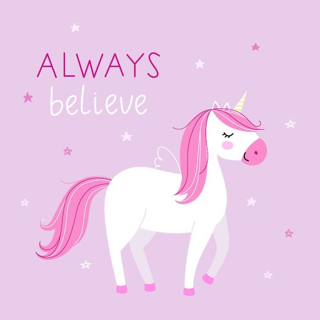 Fond avec une licorne mignonne dans des couleurs pastel sur fond rose. Vecteur Premium
