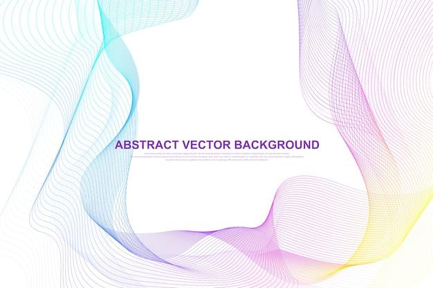 Fond De Lignes Abstraites Vagues Colorées. élément De Maille Filaire Circulaire. Vecteur Premium
