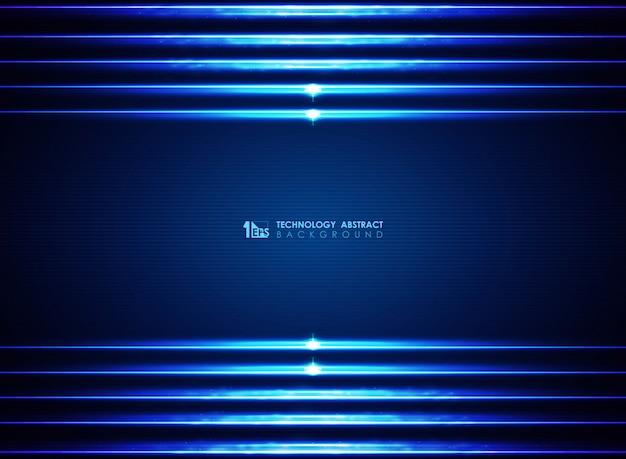 Fond de lignes bleues modernes lasers futuristes modernes. Vecteur Premium