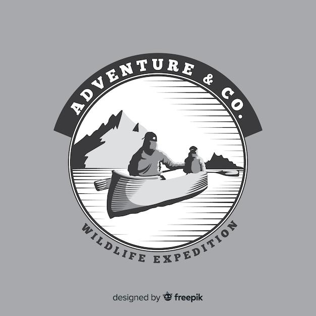 Fond de logo d'aventure vintage Vecteur gratuit