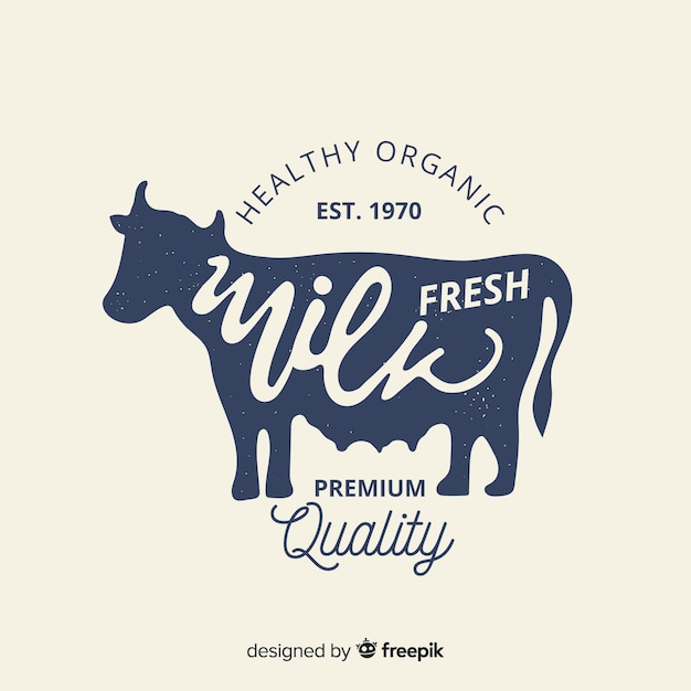 Fond logo lait bio Vecteur gratuit