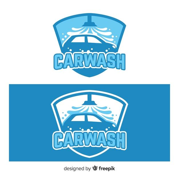 Fond de logo de lavage de voiture dessiné à la main Vecteur gratuit