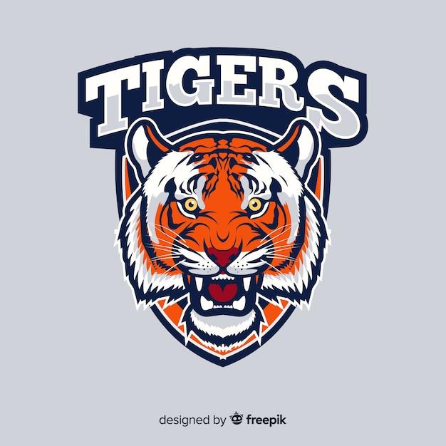 Fond de logo de tigre Vecteur gratuit