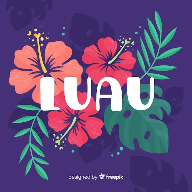 Fond de luau fleurs dessinées à la main Vecteur gratuit