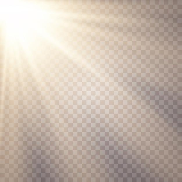Fond De Lumière Du Soleil. Effets De Lumière Luminescente. éblouissement Du Soleil. Vecteur Premium