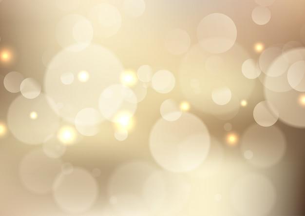 Fond de lumières doré bokeh Vecteur gratuit