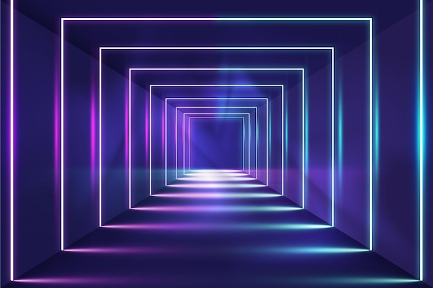 Fond De Lumières Néon Abstrait Carrés Vecteur gratuit